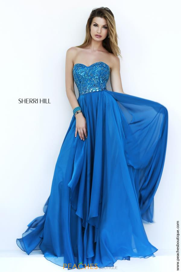 Sherri Hill Aqua Chiffon A Line Prom Dress 1943