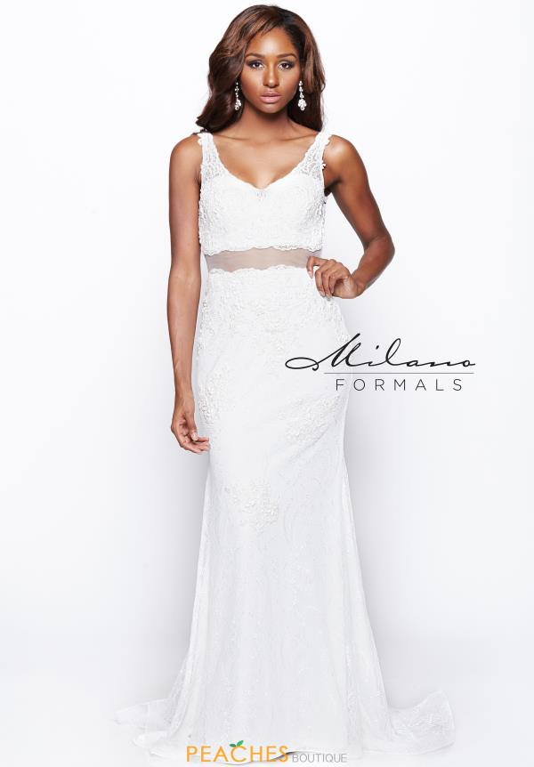 Milano Formals Ivory Beaded Dress AA9323