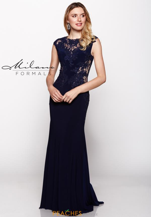 Milano Formals Navy Lace Prom Dress E1931