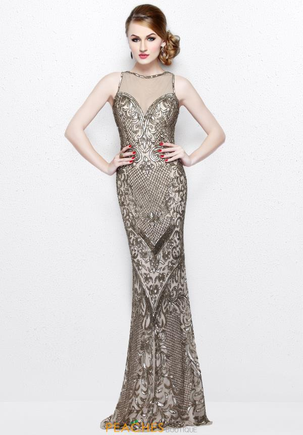 Primavera Illusion Neckline Beaded Dress 1736