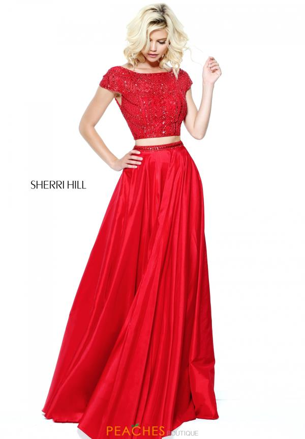 Sherri Hill A Line Red Cap Sleeve Dress 50802