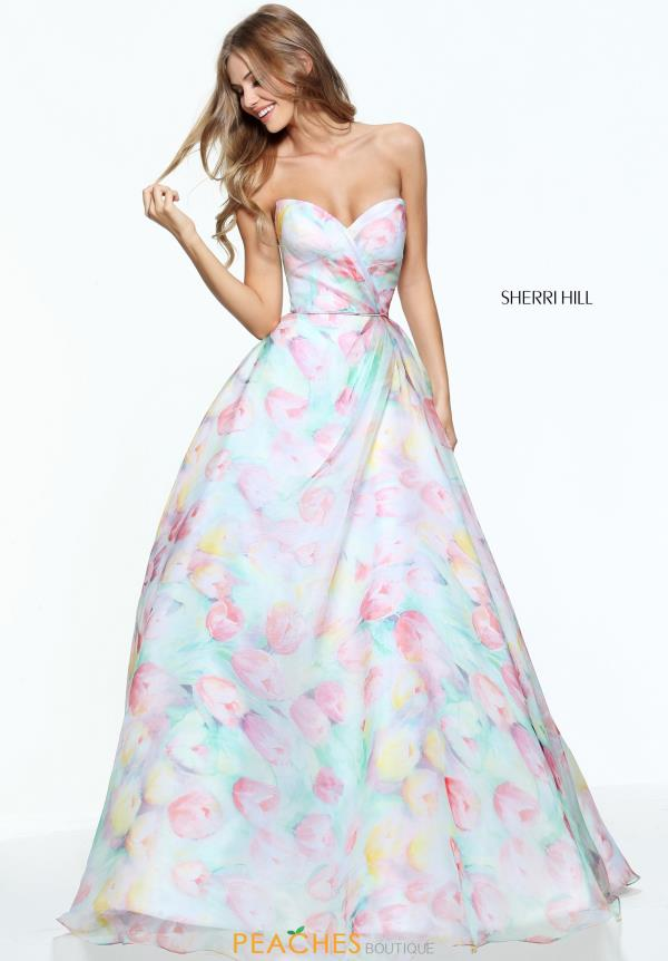 Sherri Hill Print A Line Dress 50934