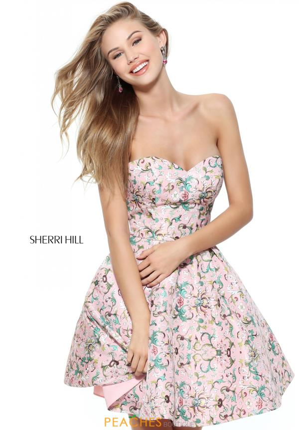 Strapless Print Sherri Hill Short Dress 50799