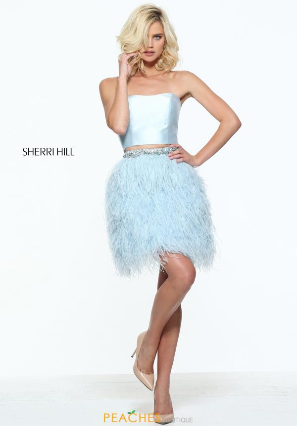 Sherri Hill Short Feather Skirt Dress 51044