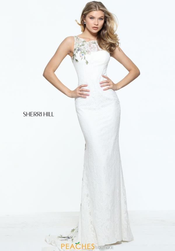 Sherri Hill High Neckline Ivory Dress 51026