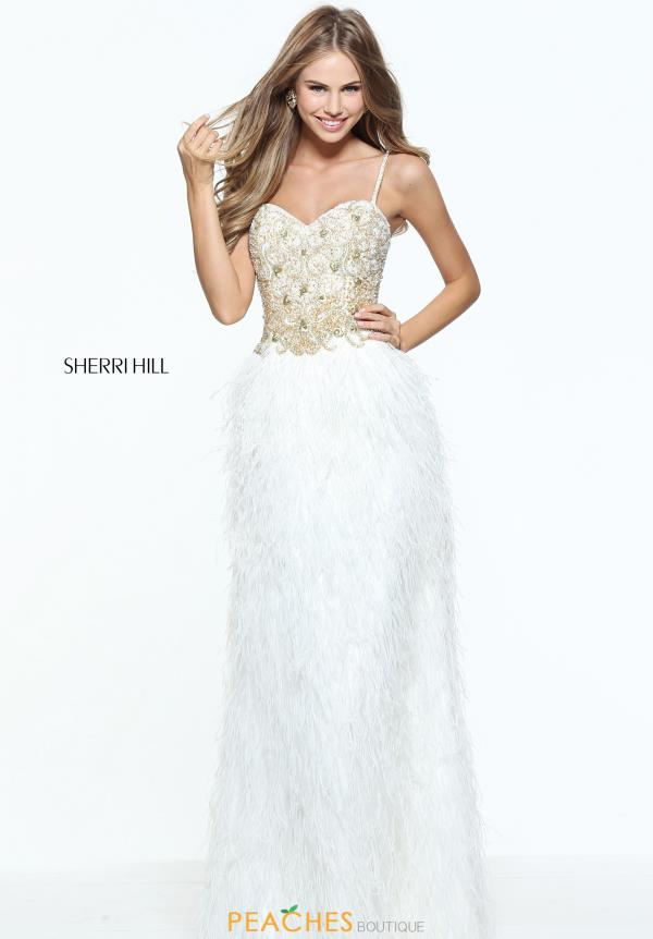 Sherri Hill Feather Long Dress 51049