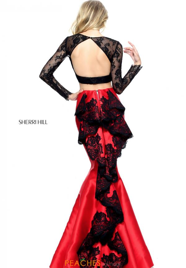 Sherri Hill Long Lace Red Dress 51169