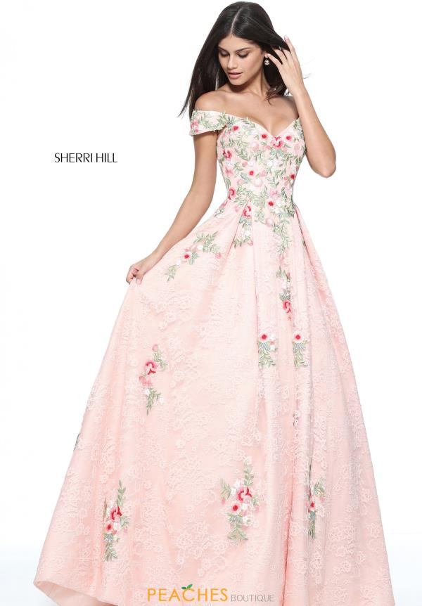 Sherri Hill Cap Sleeved A Line Dress 51189