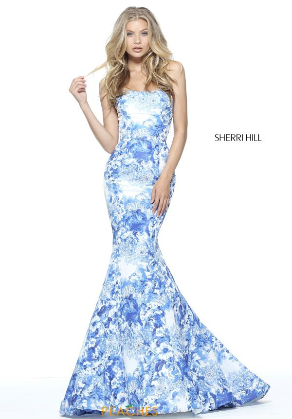 Strapless Print Sherri Hill Dress 51198