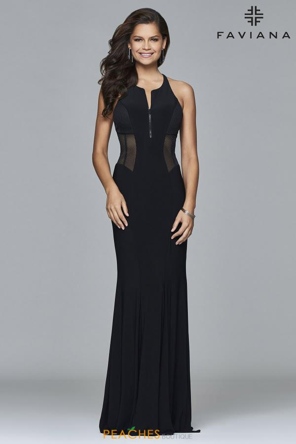 Faviana Fitted Black Dress 7944