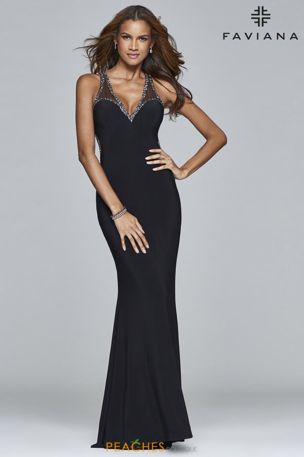 V- Neckline Fitted Faviana Dress 7990