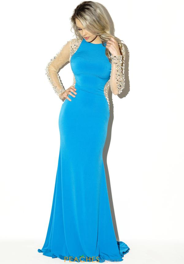 Jovani Sheer Beaded Sleeves Prom Dress 99172