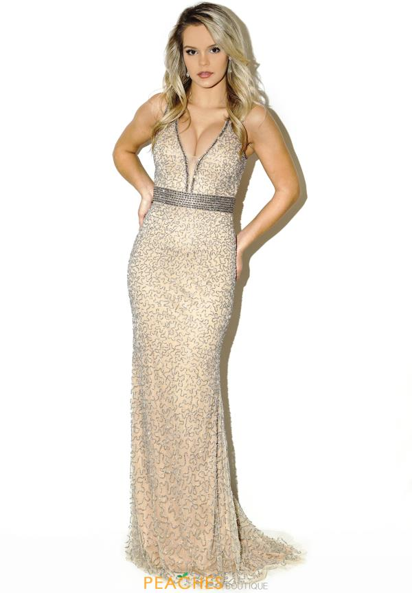 Jasz Couture Beaded Fitted Dress 5684