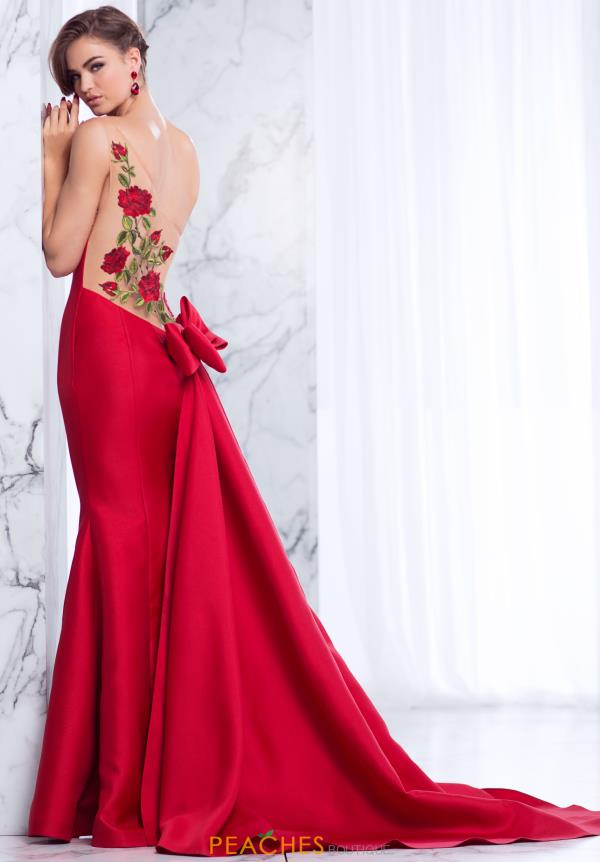 Tarik Ediz Single Shoulder Red Long Dress 50032