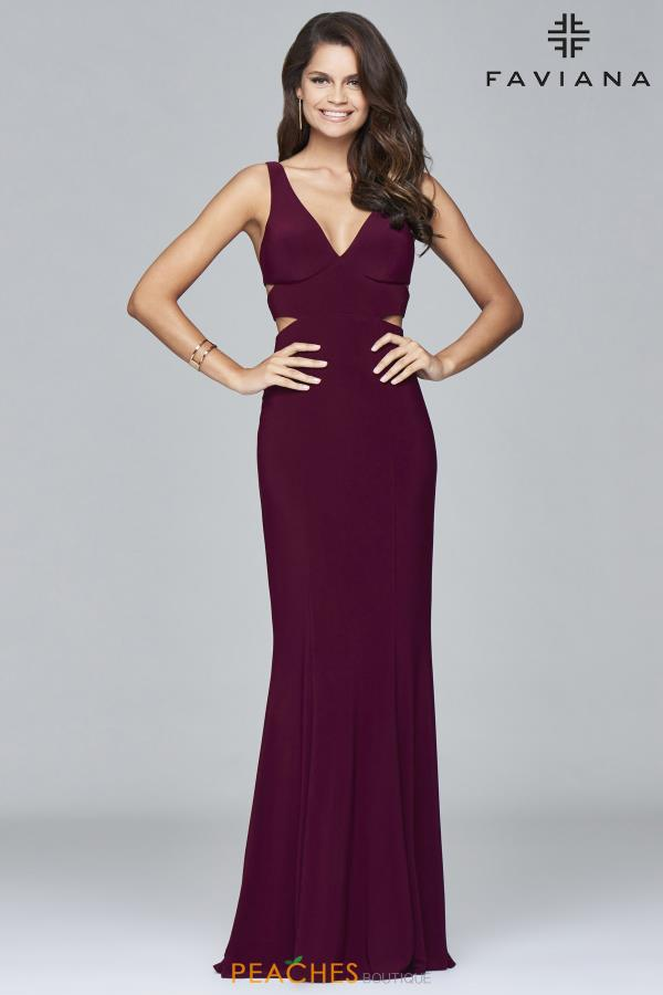 Faviana V-Neckline Long Dress 7541