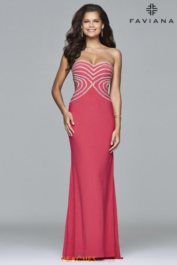 Faviana Fitted Cut Out Dress S7701