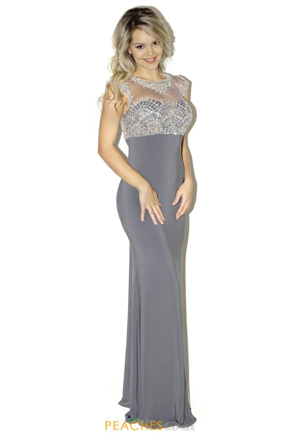 La Femme Beaded Sleeved Prom Dress 20537