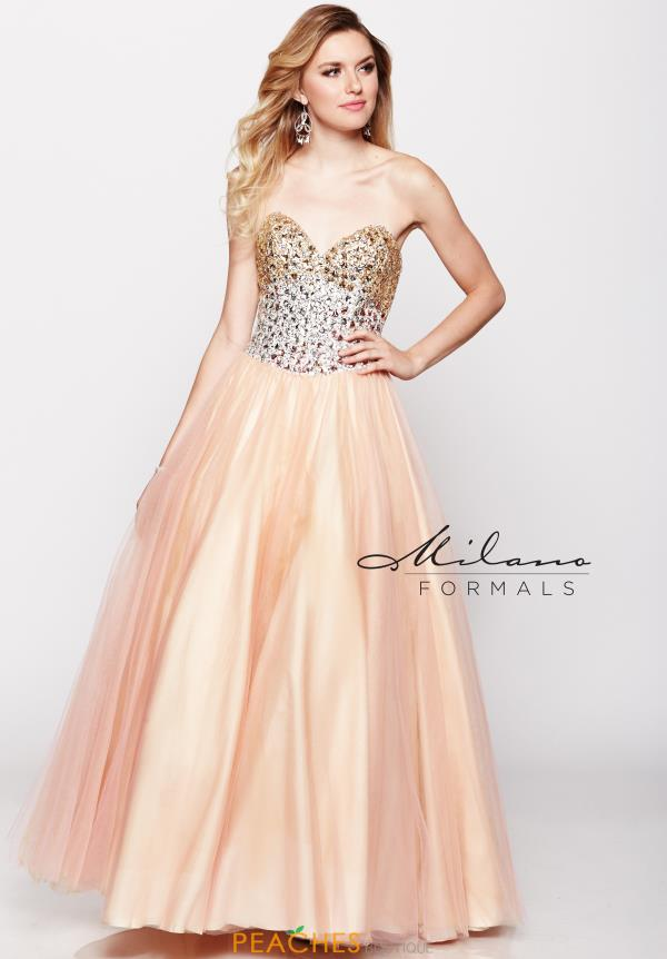 Milano Formals Beaded Tulle Prom Dress E1619