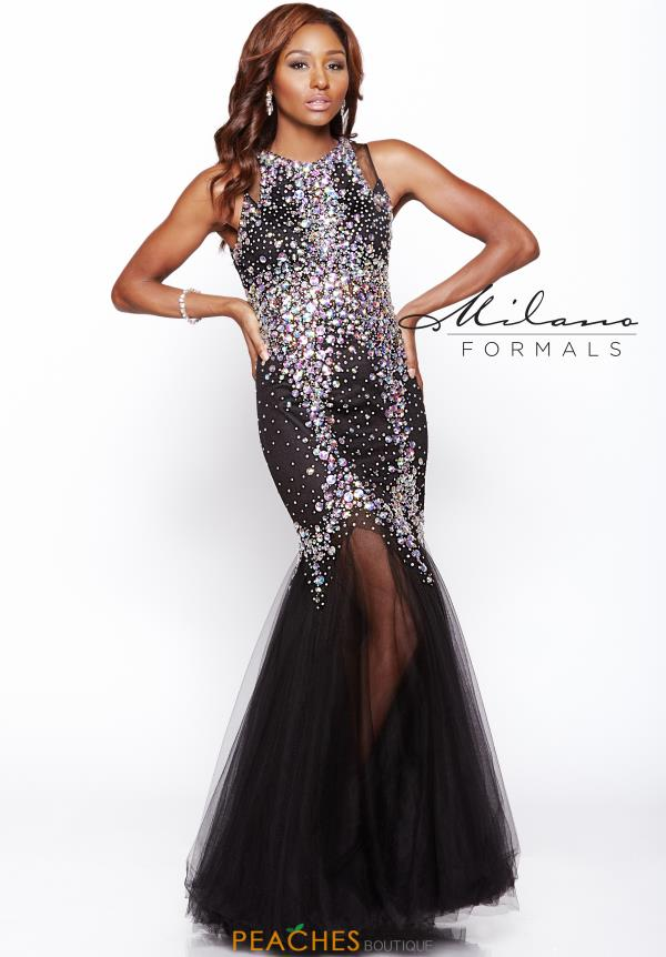 Milano Formals Beaded Black Prom Dress E1736