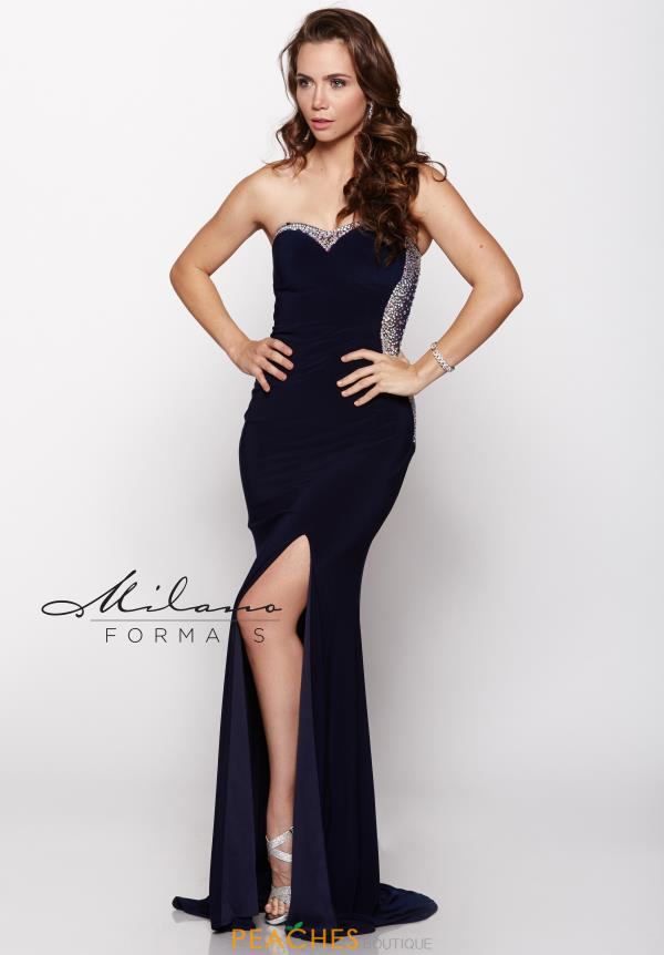 Milano Formals Jersey Beaded Navy Dress E1778