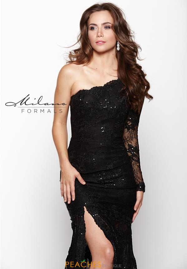 Milano Formals Fitted Black Dress E1929