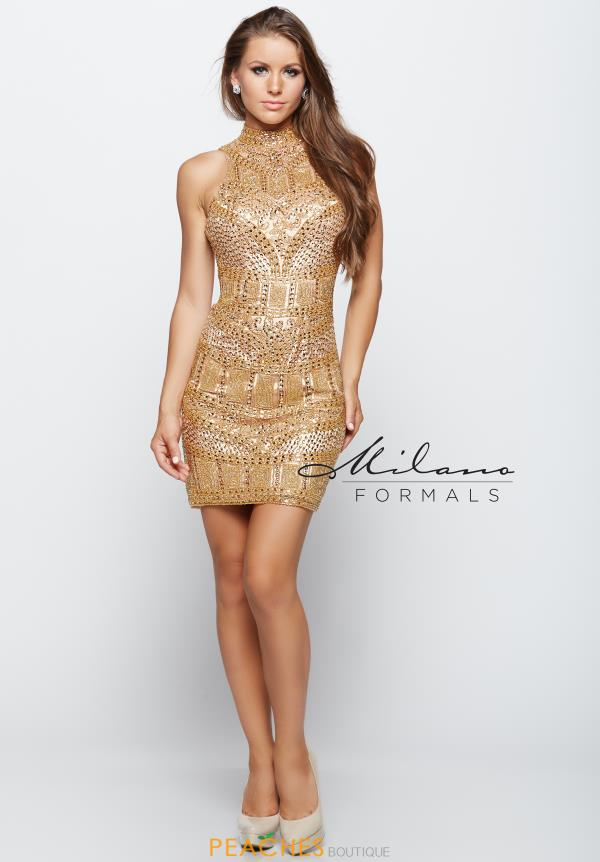Milano Formals Gold Fitted Dress E1977