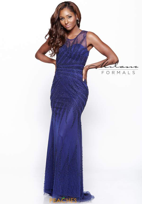 Milano Formals Navy Fitted Dress E2010