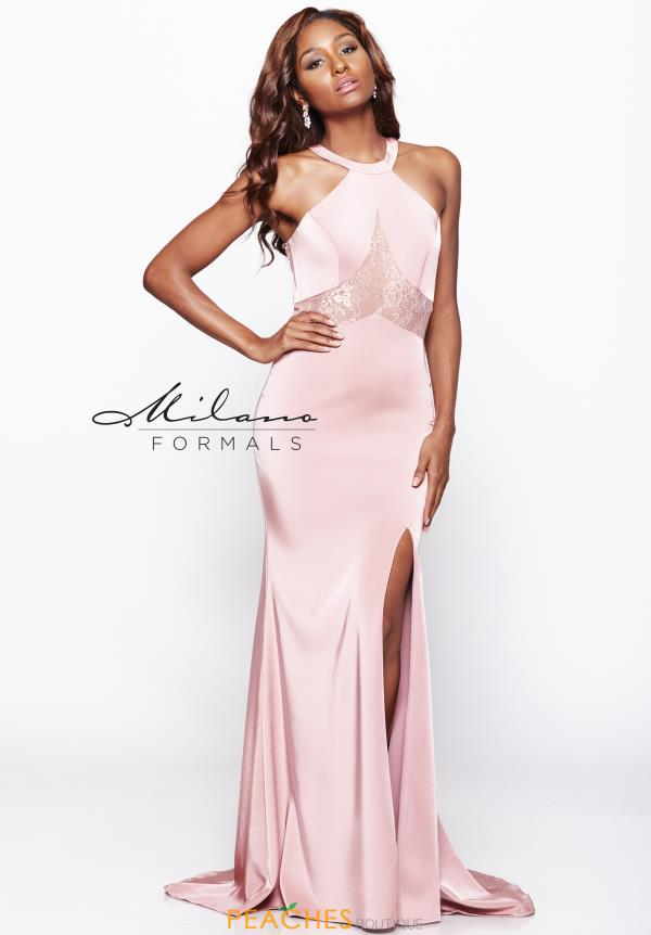 High Neckline Fitted Milano Formals Dress E2043