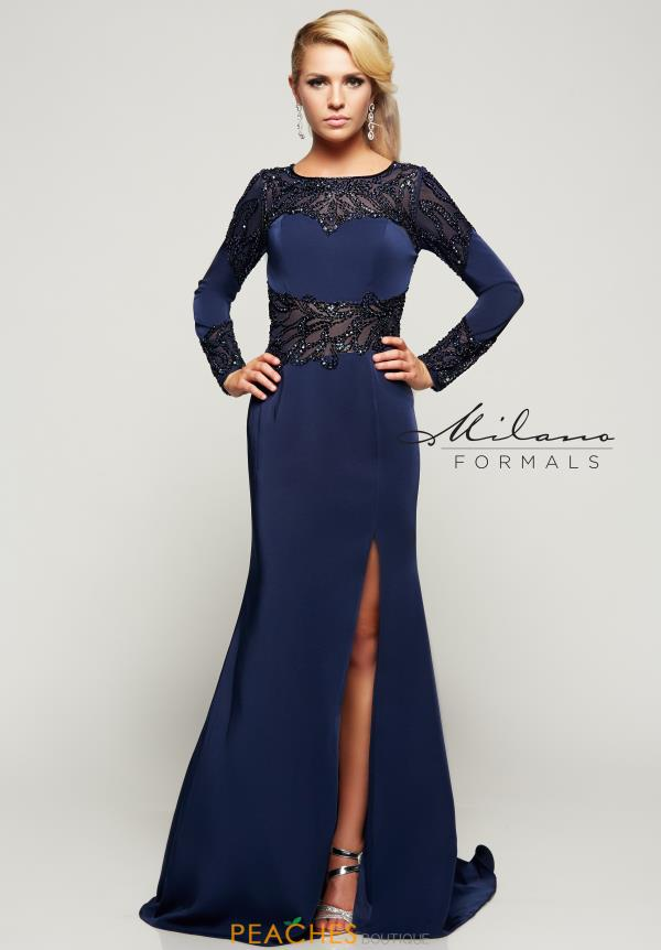 Milano Formals Long Sleeved Winter Formal Fitted Dress E2074