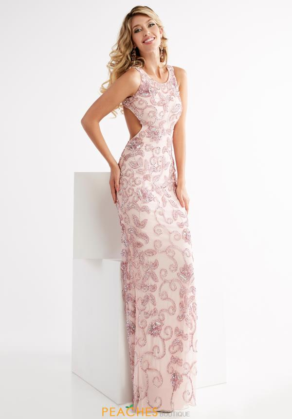 Jasz Couture Beaded High Neckline Dress 1345
