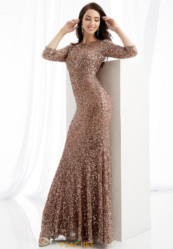 Jasz Couture Sleeved Beaded Dress 1363