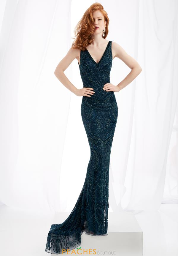 Jasz Couture V- Neckline Fitted Dress 1364