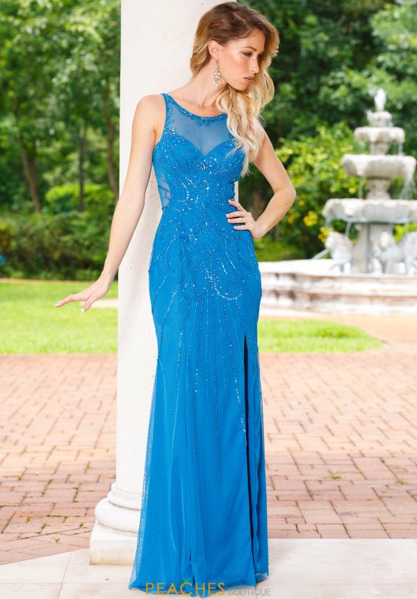 Sean High Neckline Beaded Dress 50987