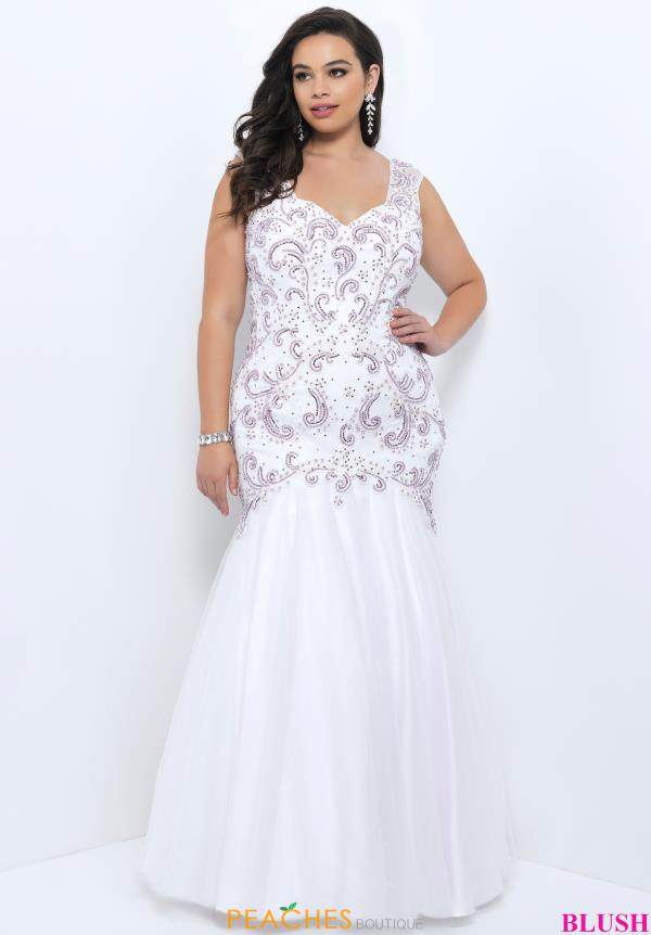 Blush Too Beaded Long Dress 11346W