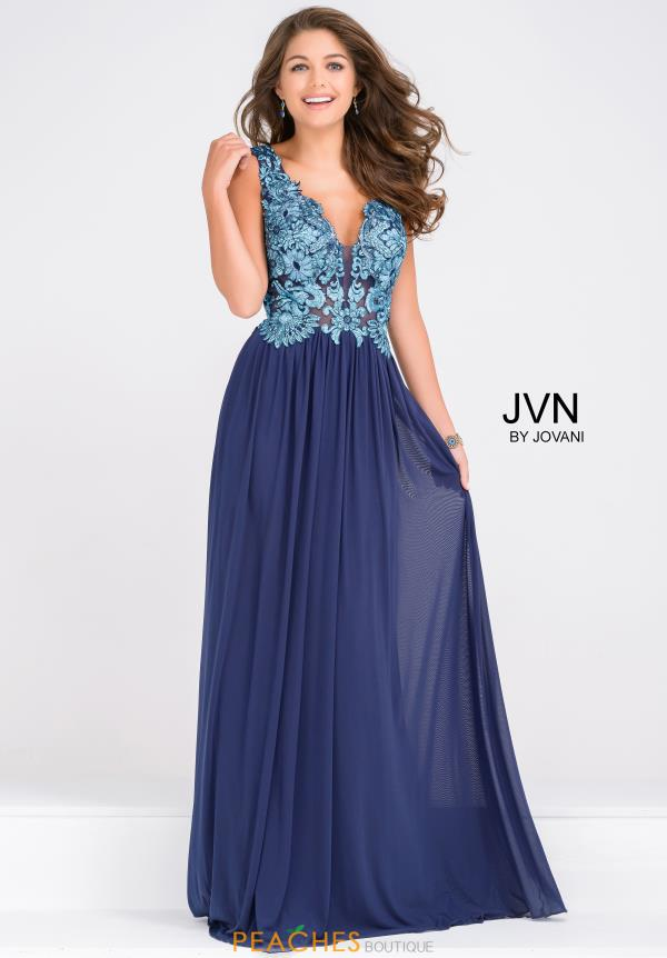 JVN by Jovani V-Neck Beaded Dress JVN47781