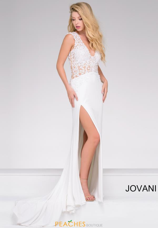 Jovani Fitted V Neck Dress 31009