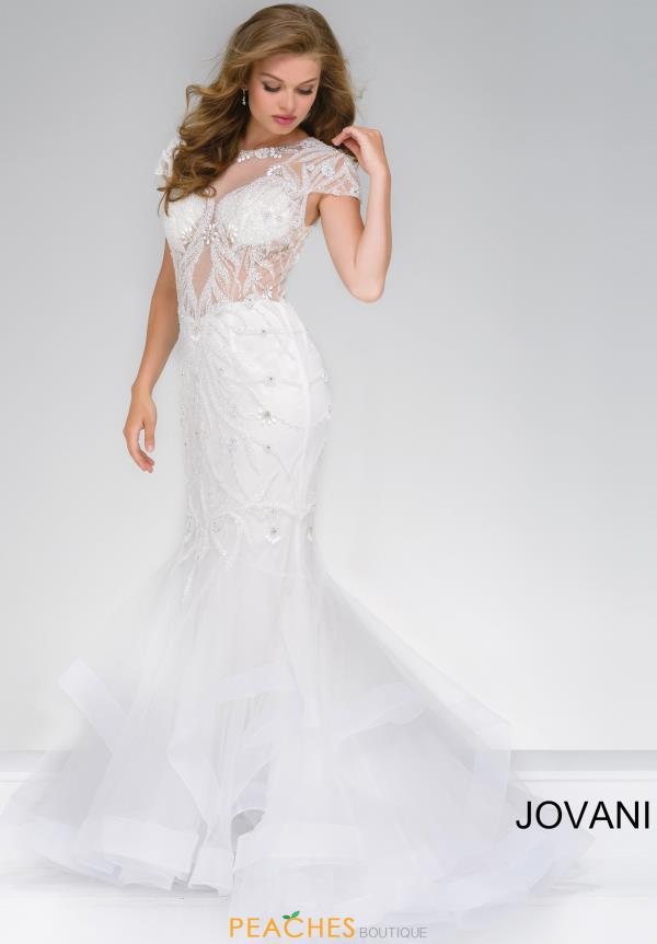 Jovani Beaded Ivory Long Dress 50220