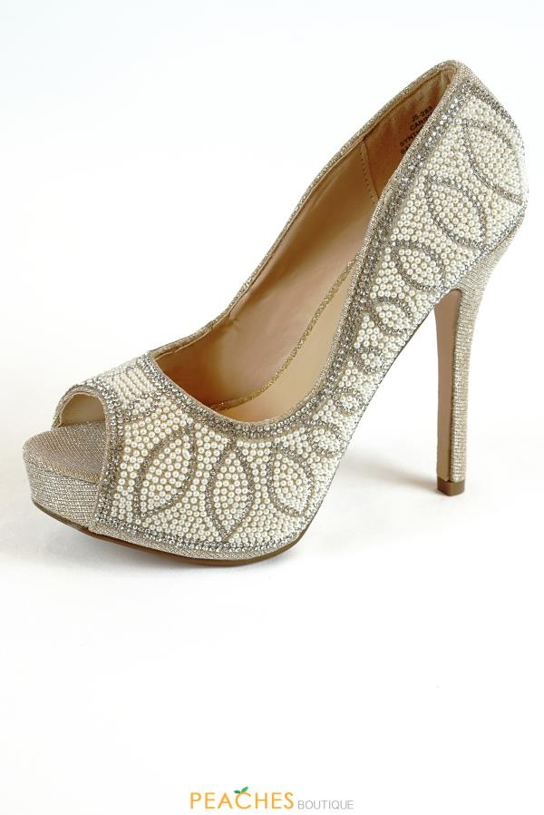 Carina-9 pearl studded Heels by Blossom Footwear