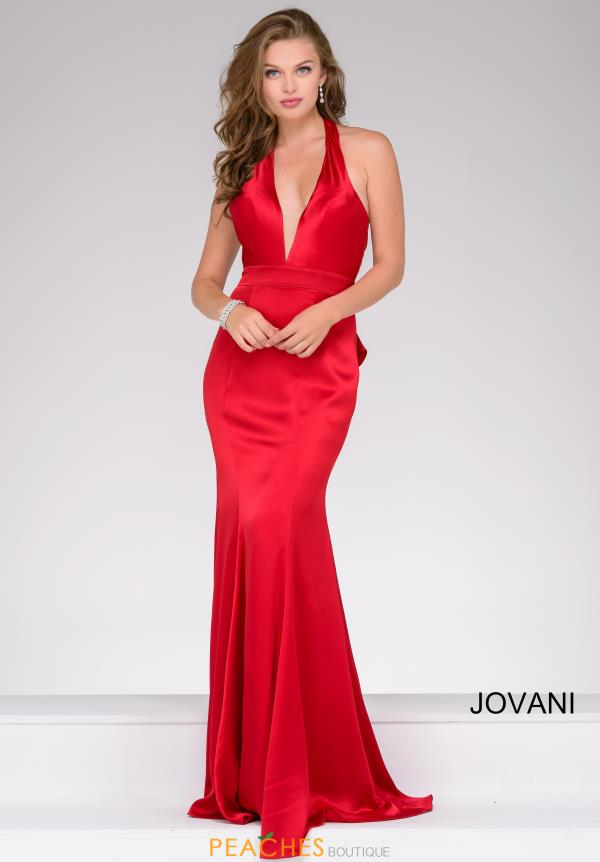 Jovani Satin V-Neck Dress 42309
