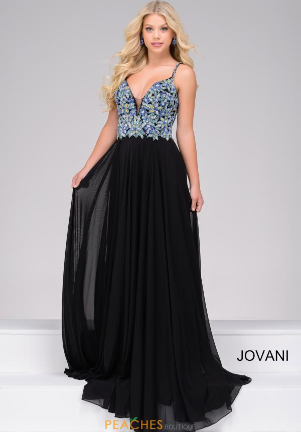 Jovani 48128 V-Neck Long Dress