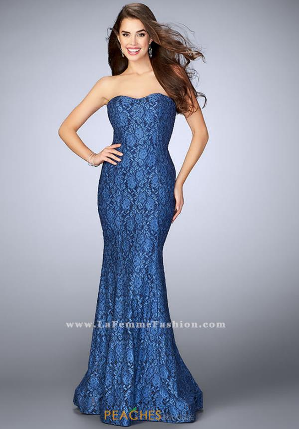La Femme Fitted Lace Dress 23410