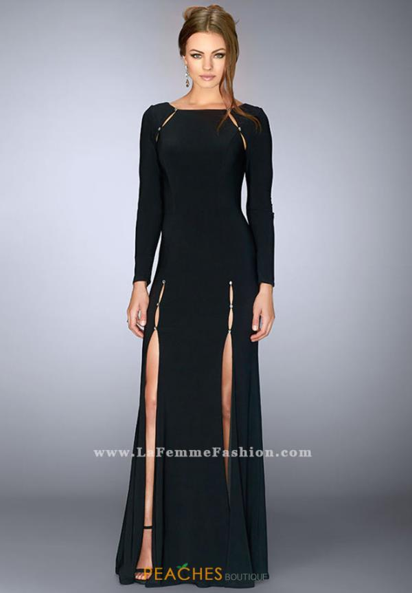 La Femme Long Black Dress 23479