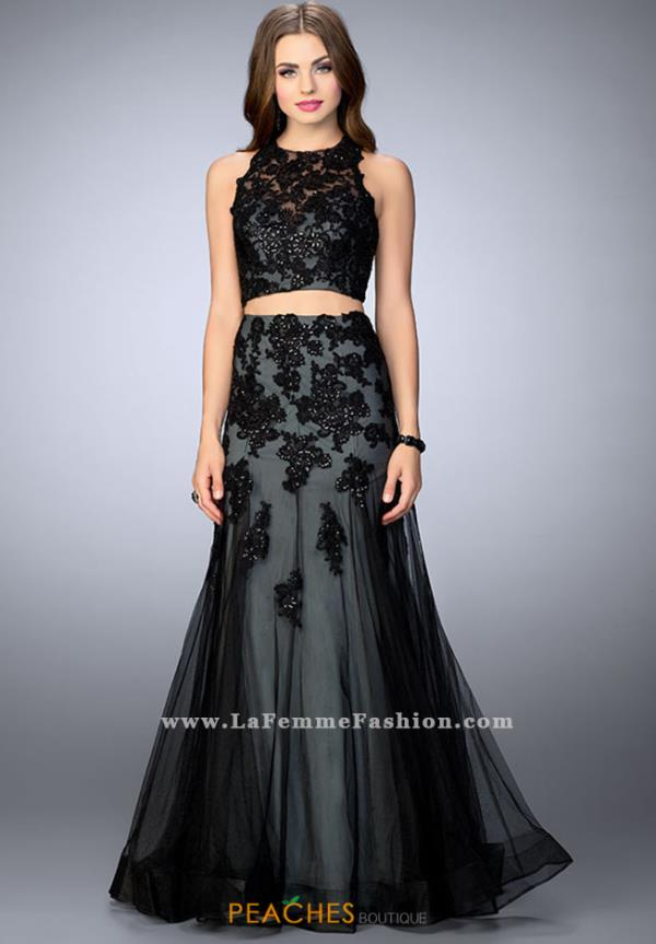 La Femme Two Piece Black Dress 23543