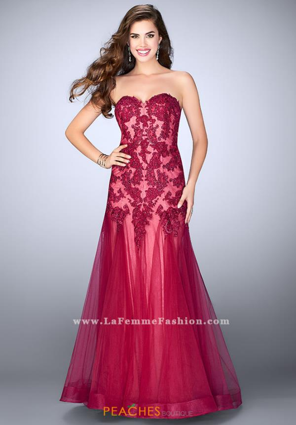 La Femme Strapless Long Dress 23578