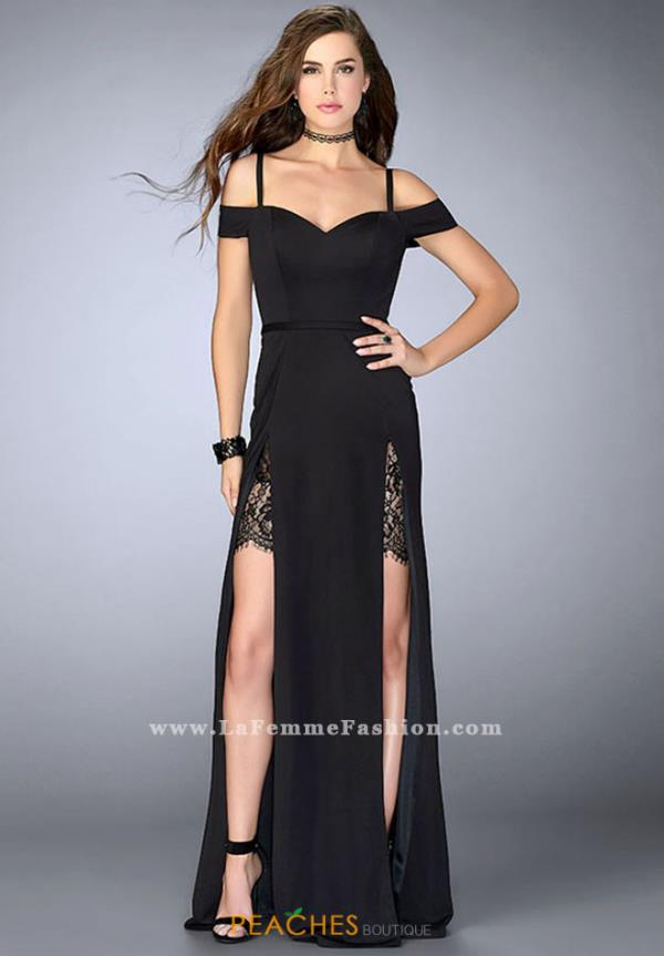 La Femme Cap Sleeved Long Dress 23607
