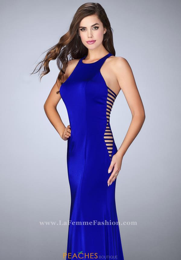 High Neckline Jersey La Femme Dress 23665