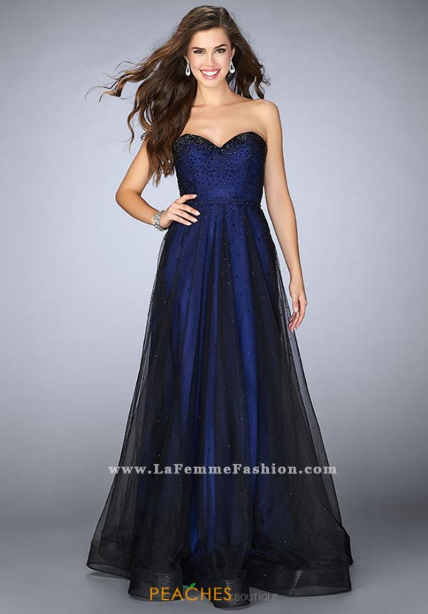 La Femme Tulle Long Dress 23723