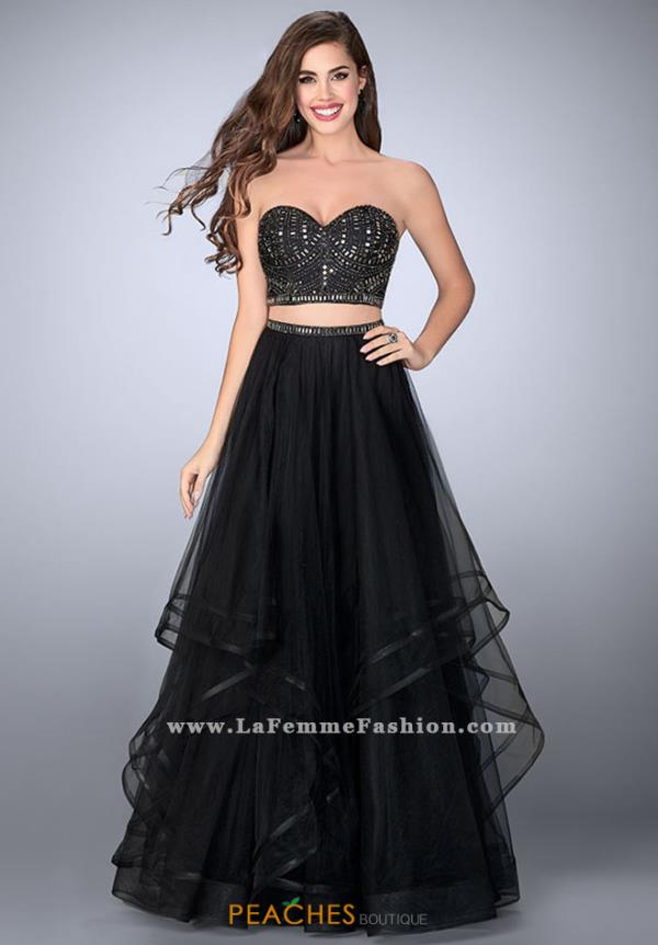 La Femme Beaded Two Piece Dress 23753