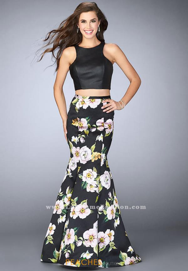 La Femme Two Piece Black Dress 23863