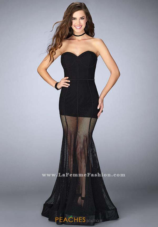 La Femme Black Romper Dress 23867